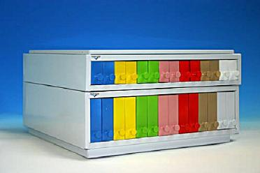 Classifier for slides with pink plastic drawers